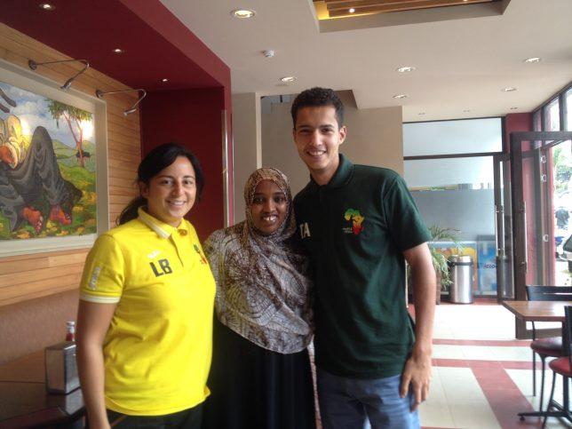 Fatuma Adan (centre) with TackleAfrica staff Laura Brooks and Othman Mezouar in Nairobi